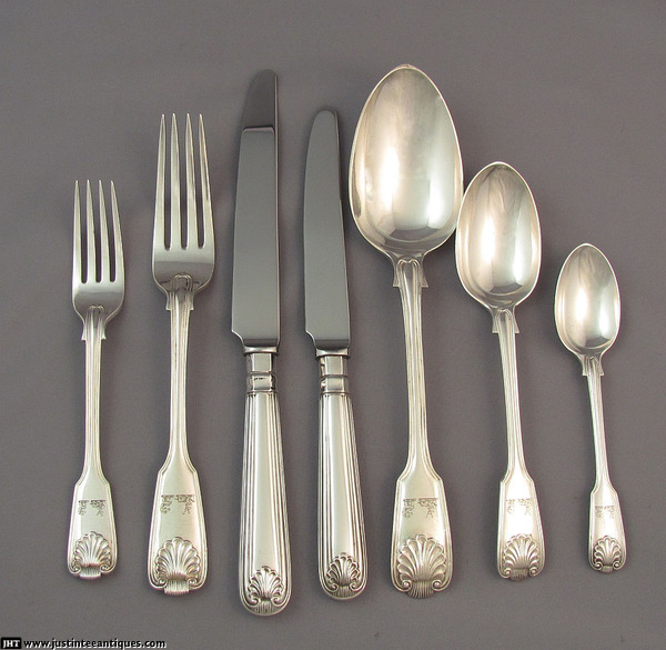Fiddle Thread & Shell Flatware Service for 24