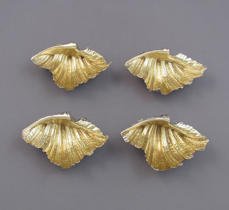 4 Victorian Silver Shell Form Salts
