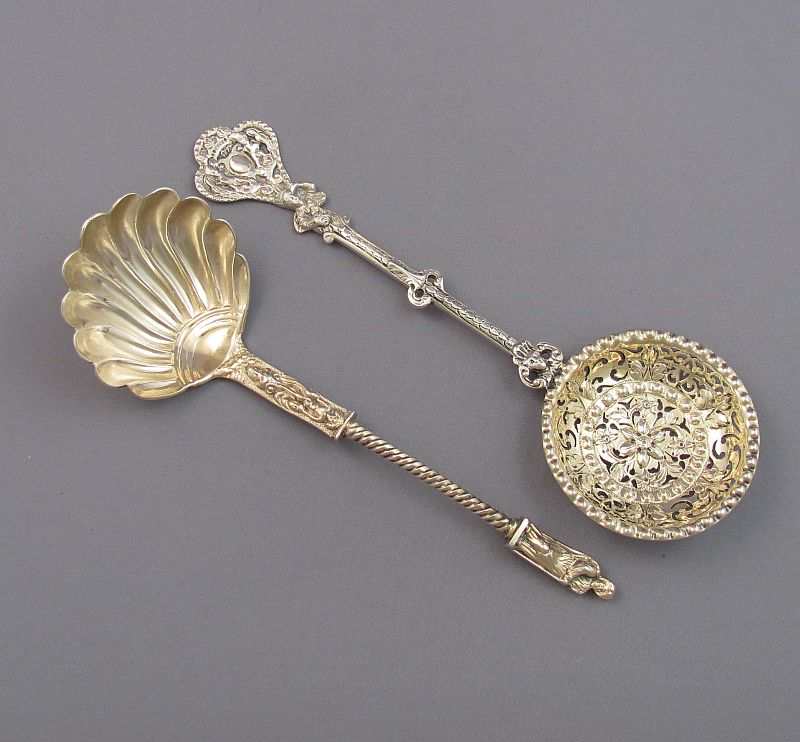 Victorian Silver Cream Ladle & Sugar Spoon
