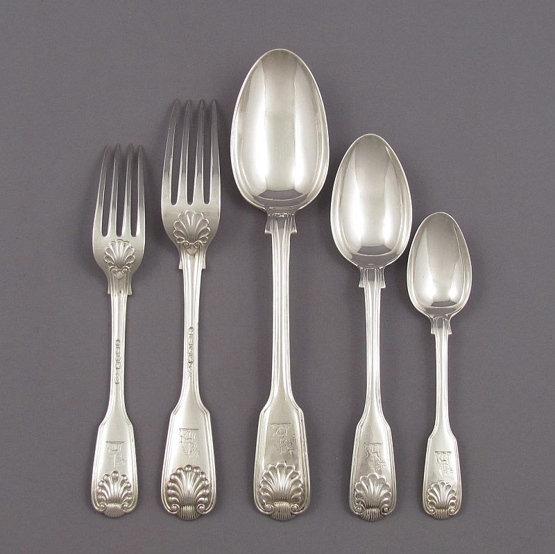 Fiddle Thread & Shell Silver Flatware Service for 12