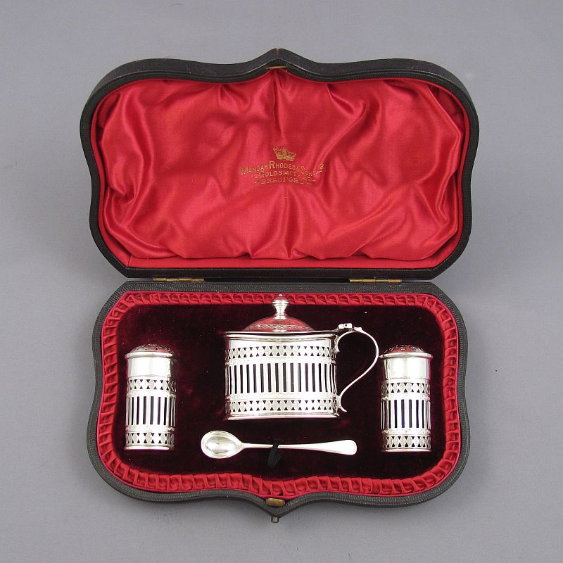 Victorian Sterling Silver Condiment Set