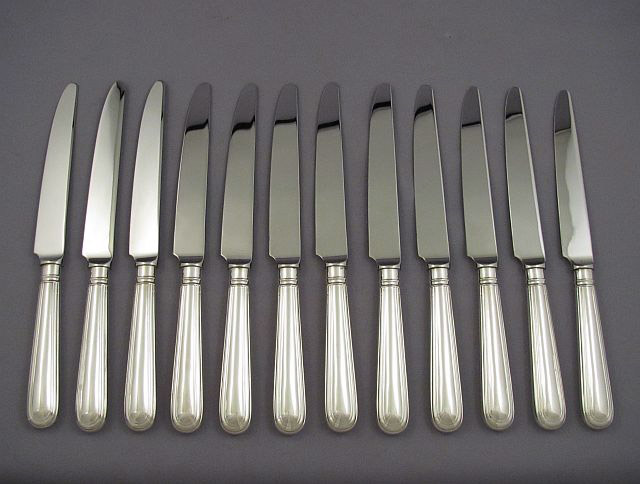 Set of 12 Old English Thread Silver Dinner Knives