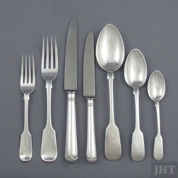 An early Victorian sterling silver Fiddle pattern flatware service for 12, by William Eaton, hallmarked London 1832-45 (with additions):