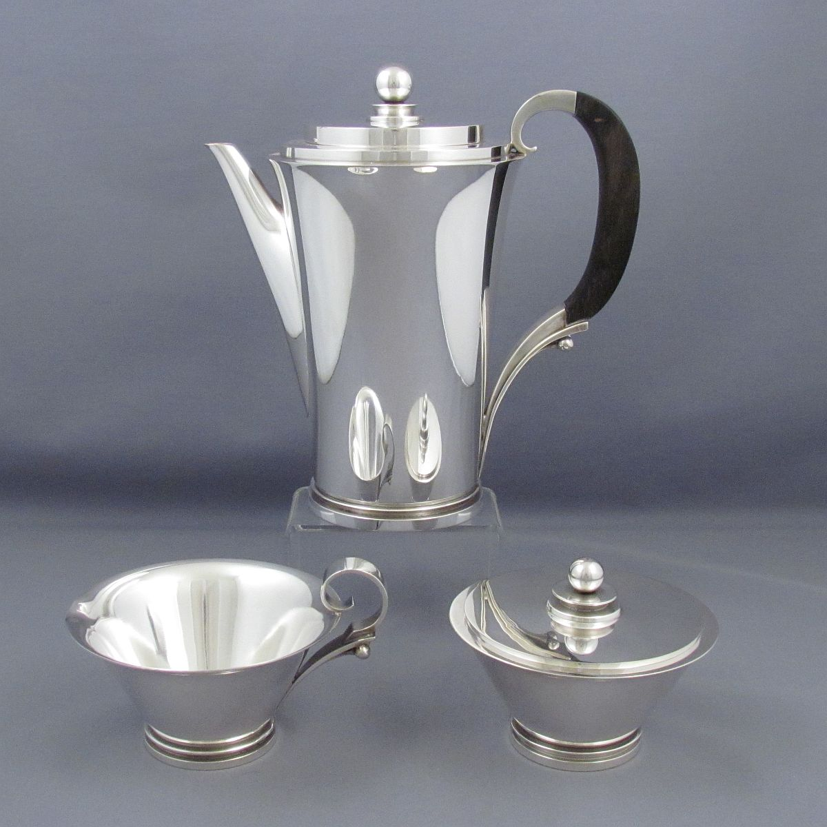 Pyramid pattern sterling silver coffee set, design #600A by Harald Nielsen 1930