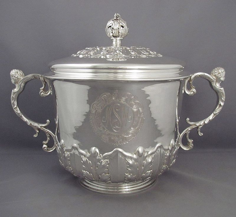 A massive handmade English sterling silver cup & cover by Lionel Alfred Crichton (for Crichton Brothers), hallmarked London 1930.