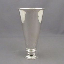 A vintage Georg Jensen sterling silver vase, Copenhagen 1925-32. Design #437 by Johan Rohde, inverted conical