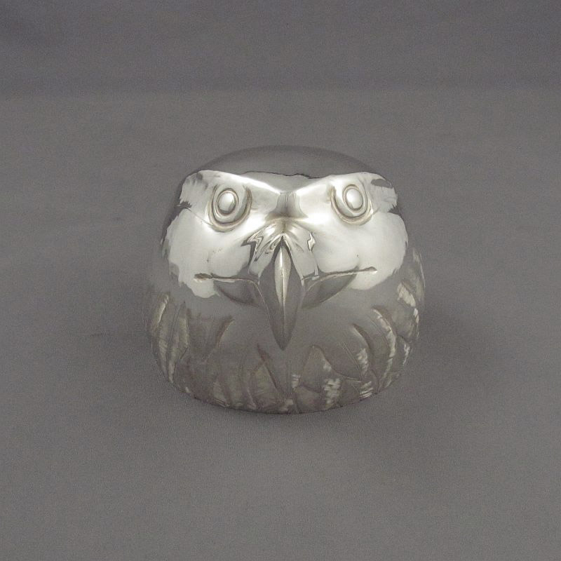 A charming sterling silver stirrup cup, hand raised from a single sheet of silver in the form of an eagle by Canadian silversmith
