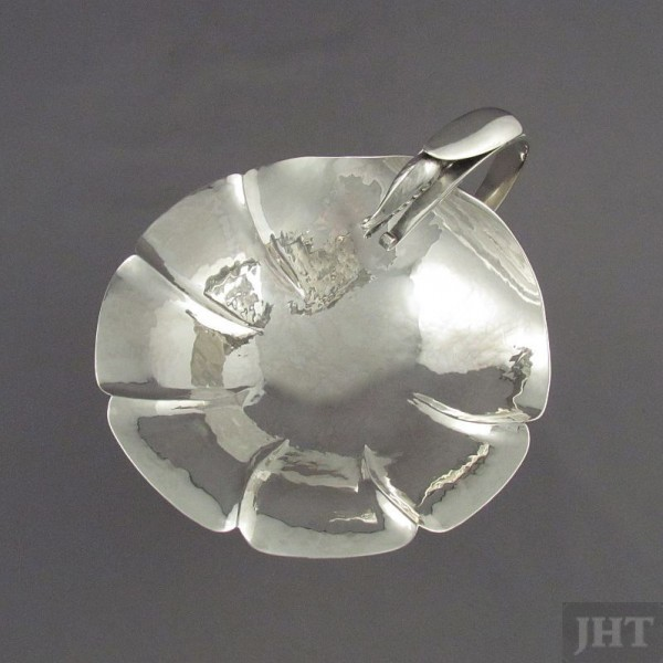 Handmade Poul Petersen silver comport, Montreal c. 1960. Lily pad form bowl with blossom handle and stand with peapod