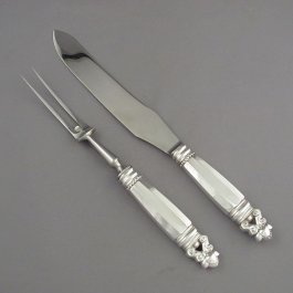 Georg Jensen Acorn carving set in sterling silver with stainless blade/ fork head