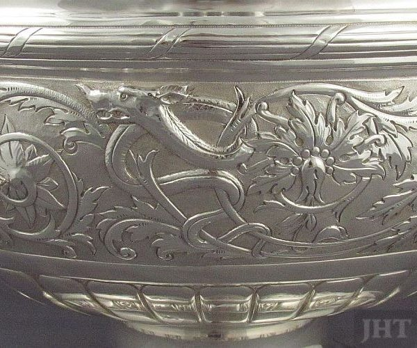 A beautiful Edwardian sterling silver Monteith style punch bowl by John Round, hallmarked Sheffield 1901. Embossed with masks