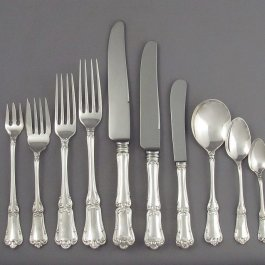 An extensive Birks Francis I pattern sterling flatware set for eight, dinner and luncheon size comprising the following: