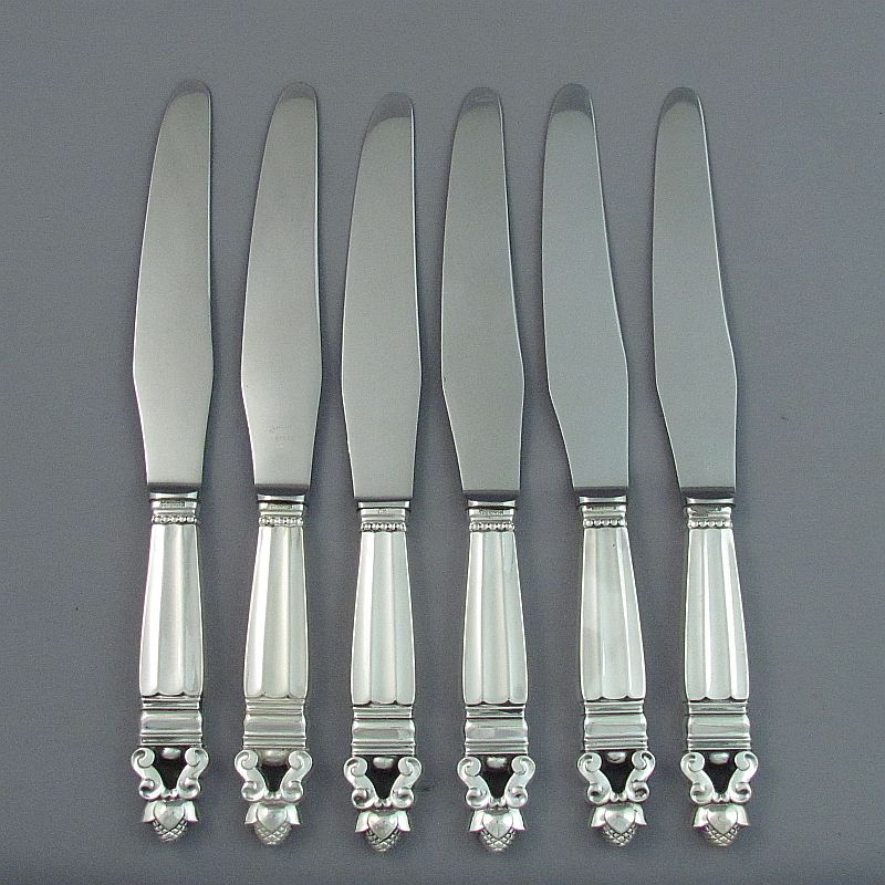 A set of six sterling silver large dinner knives (or continental dinner knives) in Acorn pattern by Georg Jensen.