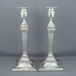 A pair of antique George III sterling silver candlesticks by Richard Carter, Daniel Smith & Robert Sharp hallmarked London 1778.
