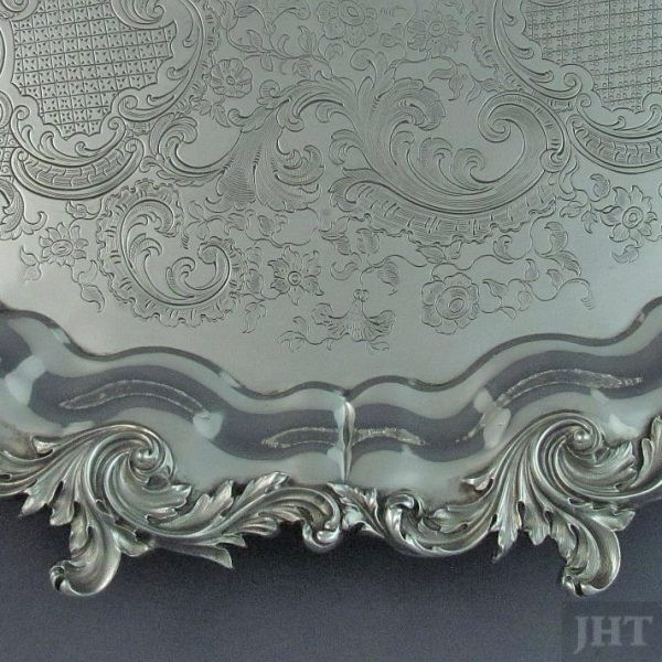Large early Victorian sterling silver salver London, 1843 by James Charles Edington. Serpentine rim with applied scrolling