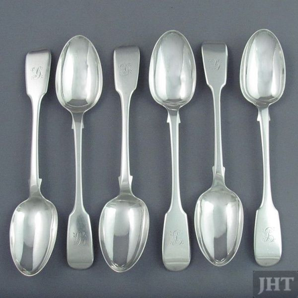 A set of six Irish sterling silver teaspoons by John Smith, retailed by Gilbert & Son, Dublin 1859/63. Fiddle pattern with rat-tail.