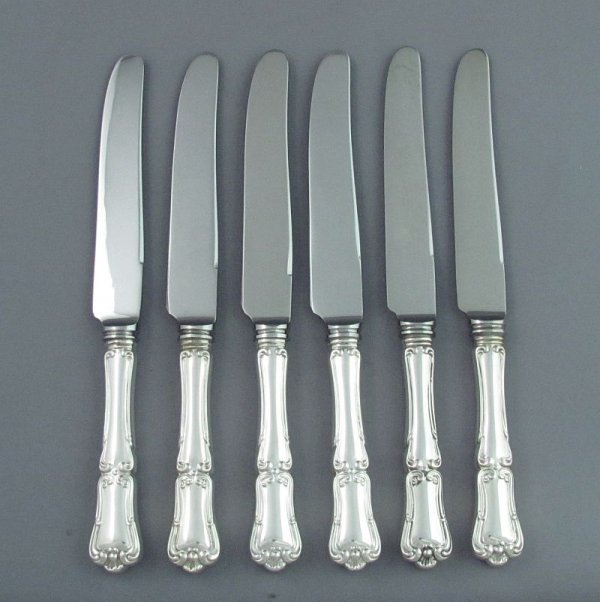A set of six sterling silver luncheon knives in Francis I pattern by Henry Birks & Sons, Montreal c. 1950.