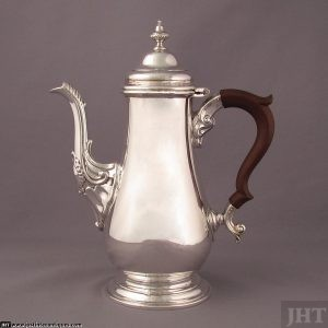George II style sterling silver coffee pot by Henry Birks & Sons, Montreal 1960