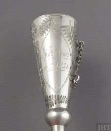 A Victorian sterling silver posy holder, English c. 1880 (unmarked). Conical shape, beautifully engraved with ferns, monogram BA