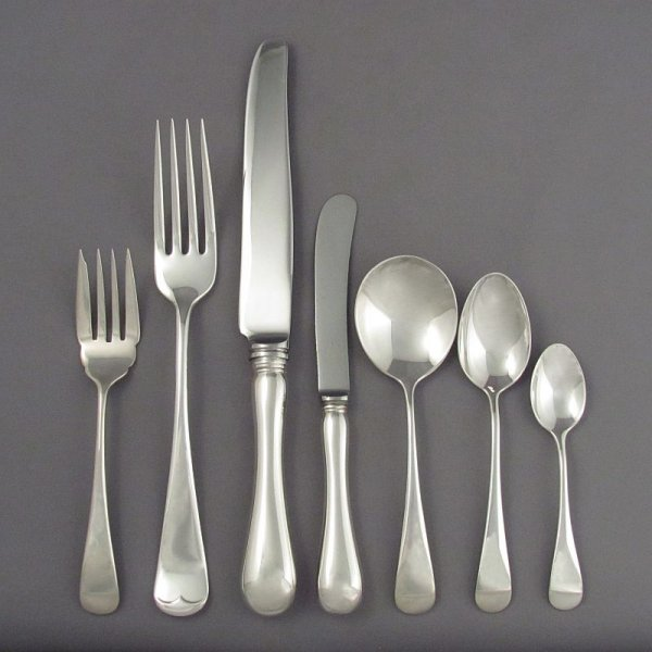 A Birks Old English sterling silver flatware set for eight comprising the following: