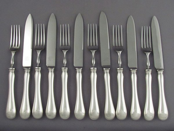 A sterling silver fruit or dessert set for 6 (with stainless steel heads) in Old English pattern, by Henry Birks & Sons, Montreal c. 1960.