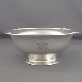 "French sterling silver bowl by Louis Aucoc, Paris c. 1875, marked with Aucoc Aine retail mark and ""sterling"". Circular with everted"