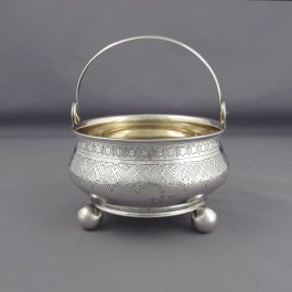 A Russian silver sugar basket or bowl by Alexander Fulid, hallmarked Moscow 1883, also marked with post revolution Latvian mark